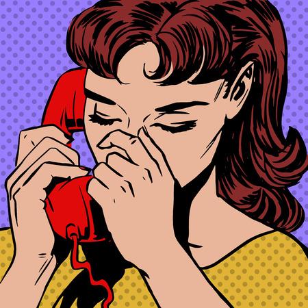 Une femme parle au téléphone pop art comics demi-teinte de style rétro. Imitation de vieilles illustrations Vecteurs