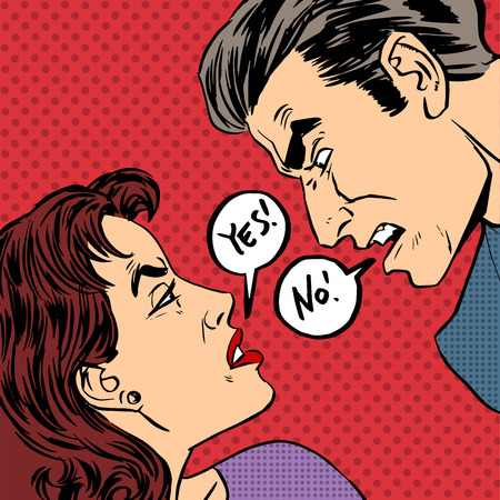 yes or no: Angry quarrel male female Yes no pop art comics retro style Halftone. Imitation of old illustrations