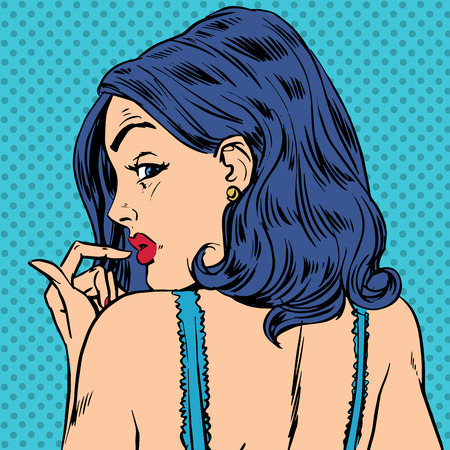 Surprised woman looks back pop art comics retro style Halftone. Imitation of old illustrations