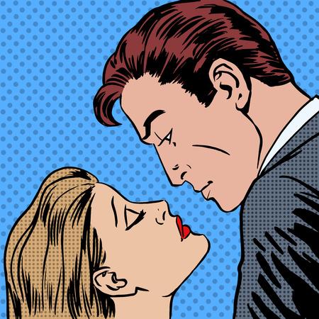 bacio: Amore uomini e donne baciano pop art fumetti stile retrò mezzitoni. Imitazione di vecchie illustrazioni. Romantico data