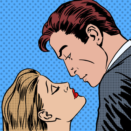 beso: Los hombres y mujeres del beso del amor del arte pop del estilo de los tebeos retro de medias tintas. Imitaci�n de viejas ilustraciones. Cita romantica