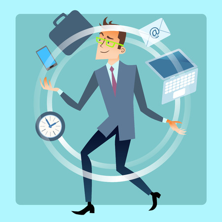 businessman: Businessman juggler planning time work. Business and finances. Male office worker juggles smartphone, laptop, mail, documents, portfolio