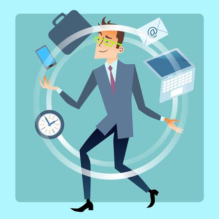 empresarios: Empresario malabarista planificar el trabajo a tiempo. Negocios y finanzas. Empleado de oficina masculino malabares smartphone, portátil, correo, documentos, cartera