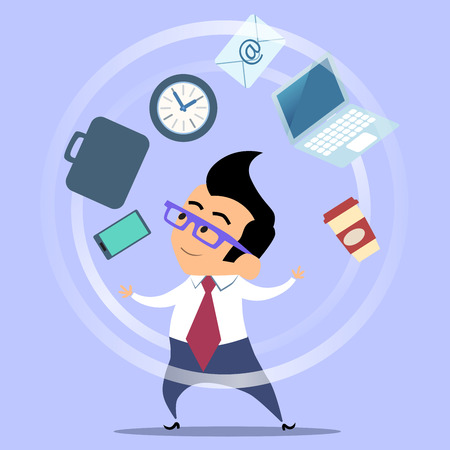 Office worker planning time juggler businessman. The man in glasses and a suit juggles coffee smartphone portfolio email watch the laptop
