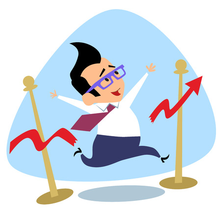 Businessman breaks the finish tape schedule of sales growth. The image of business as a sport. Businessman in sports situations Illustration