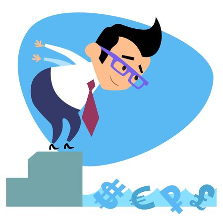 supervisor: Businessman swimmer jumps into the pool with the money. The image of business as a sport. Businessman in sports situations