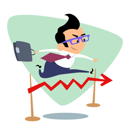 business jump: Businessman steeplechase jump over the barrier graph of sales. The image of business as a sport. Businessman in sports situations