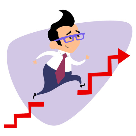 finance director: Businessman takes a step over the obstacle graph of sales. The image of business as a sport. Businessman in sports situations