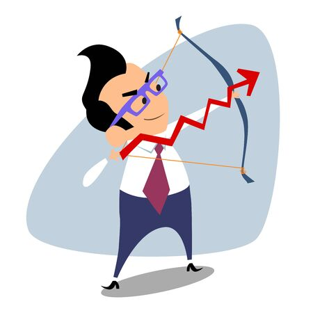 supervisor: Businessman archery schedule of sales. The image of business as a sport. Businessman in sports situations