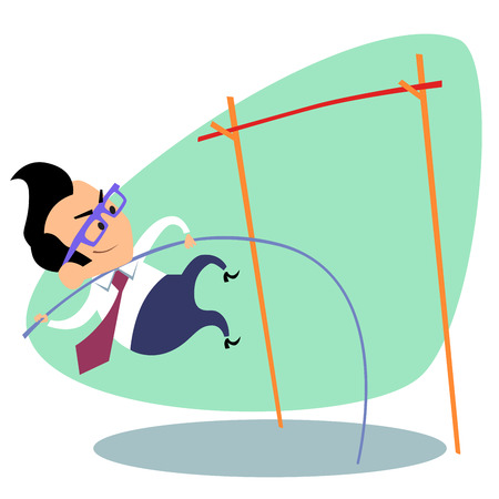 pole vault: Businessman pole vault height. The image of business as a sport. Businessman in sports situations
