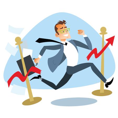 breaks: El hombre de negocios corriendo rompe el gr�fico de cinta de meta de ventas. El tema del concepto de negocio la competencia