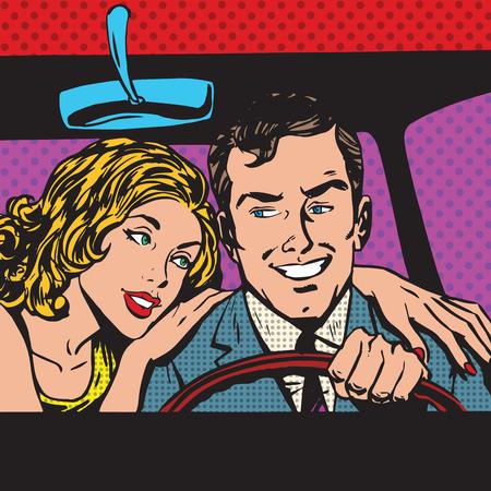 Man en vrouw in de auto gezin pop art comics retro stijl halftoon. Imitatie van oude illustraties. Imitatie vintage illustraties. Koop vervoer