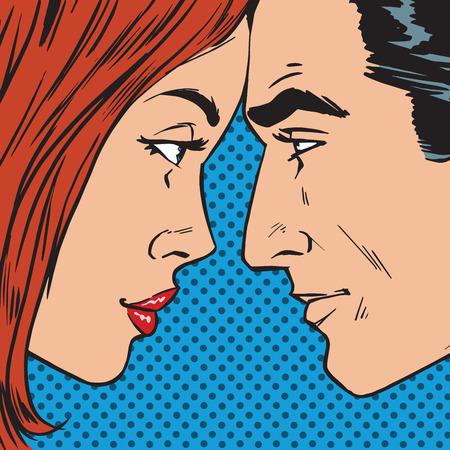 enamorados caricatura: El hombre y la mujer mirando el uno al otro cara a cara c�mic del arte pop del estilo retro de medias tintas. Imitaci�n de viejas ilustraciones