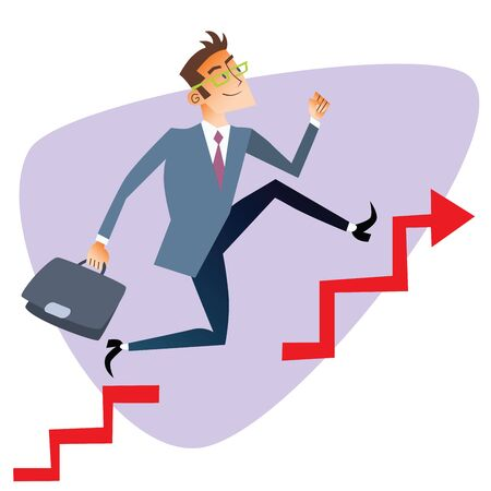 financier: Businessman running up through gaps in the schedule of sales The topics of business through images of sport and athletes in the competition. Competition success and work Illustration