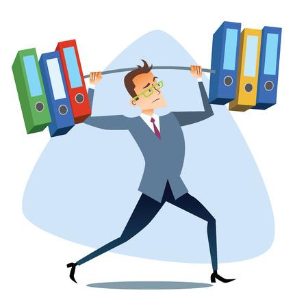 Hombre de negocios levanta informes graves como la barra de pesas Los temas de negocios a través de las imágenes del deporte y atletas en la competencia. El éxito de la Competencia y de trabajo
