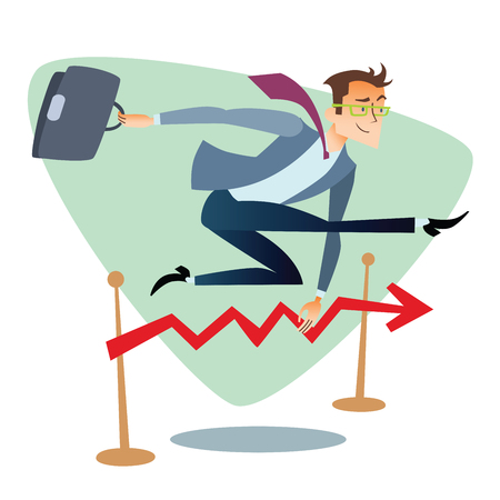 capitalismo: Businessman running and jumping over barriers schedule of sales. The topics of business through images of sport and athletes in the competition. Competition success and work