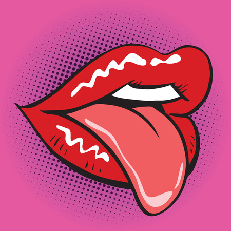 lips tongue pop art retro. Illustration imitating vintage figure