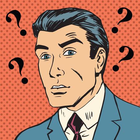 persona confundida: Signos de interrogaci�n Hombre malentendido Enigma hombres reacci�n emocional pop art c�mics estilo retro de semitono. Imitaci�n de viejas ilustraciones