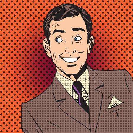 arte: Hombres reacción emocional pop art cómics estilo retro de medias tintas. Imitación de viejas ilustraciones