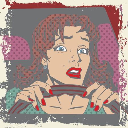 pledge: Scared woman driver behind the wheel of a car pop art comics re