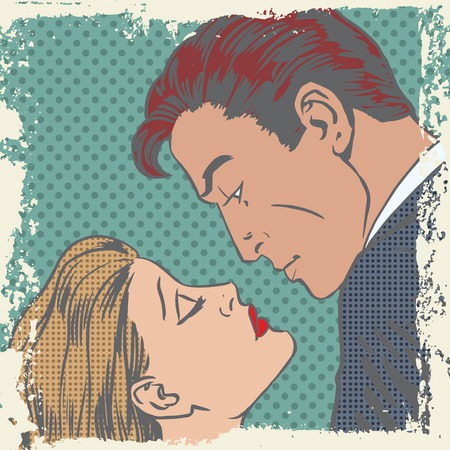 kisses: man and woman about to kiss pop art comics retro style Halftone