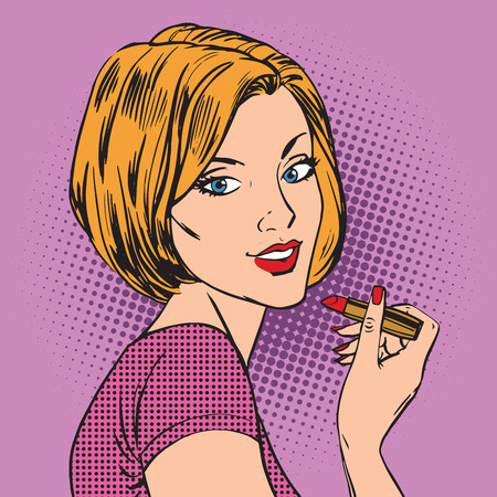 Beautiful girl paints her lips red lipstick pop art comics retro Çizim