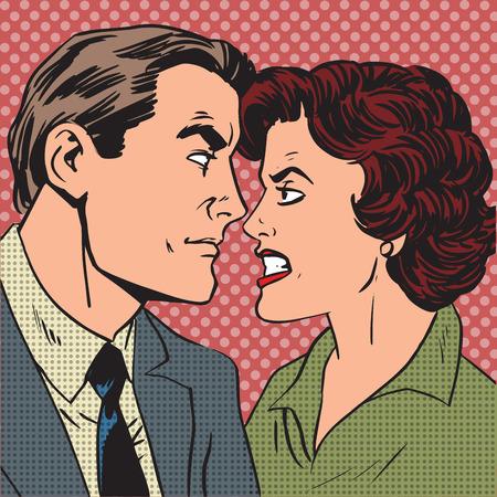 women fight: Conflict man woman family quarrel love hate pop art comics retro
