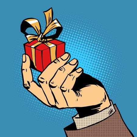 그의 손에 작은 상자 팝 아트 만화 레트로 스타일의 하프 톤의 선물 일러스트