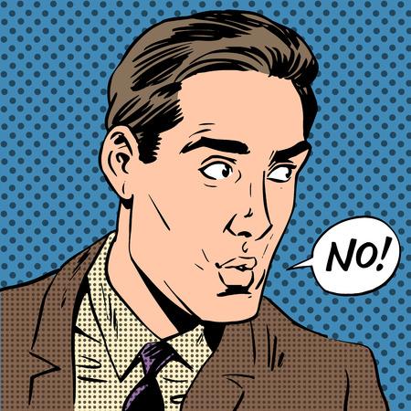 Elegant man says no pop art comics retro style Halftone