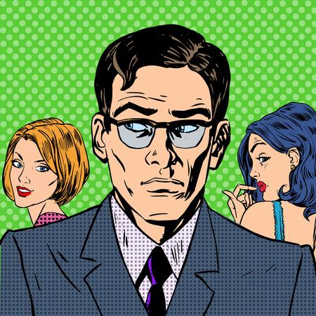 남자는 관계가 감정 팝 아트를 사랑하는 두 여자 사이에서 선택 스톡 콘텐츠 - 39693640