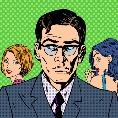 retro man: man chooses between two women relationships love emotion pop art