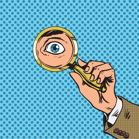 Kijk door een vergrootglas op zoek ogen pop art comics opnieuw