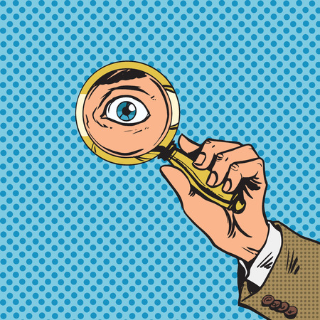 lupa: Mira a través de una lupa buscando ojos cómic del arte pop re Vectores
