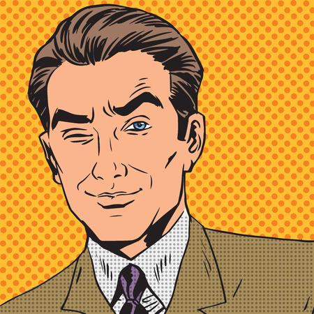comic: hombre mira hacia arriba cerrando un ojo c�mic del arte pop del estilo retro de semitono Vectores