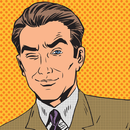 gentleman: man looks up closing one eye pop art comics retro style Halftone Illustration