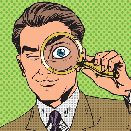 comico: El hombre es un detective que mira a trav�s de aumento de b�squeda de cristal p