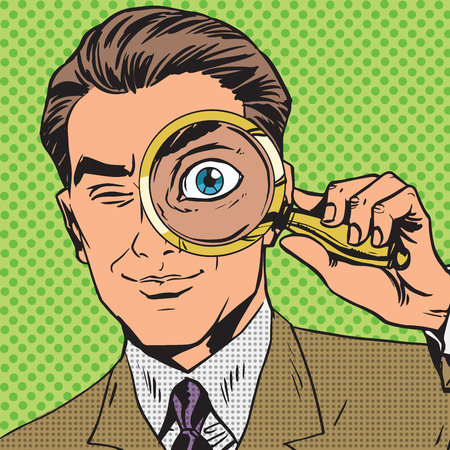 retro art: The man is a detective looking through magnifying glass search p
