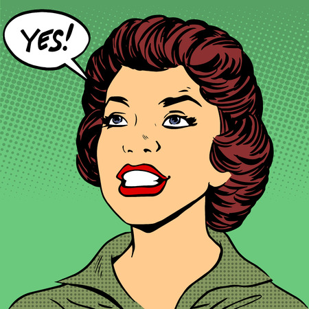 黒人女性は言うはいポップなアート コミック レトロ スタイル ハーフトーン  イラスト・ベクター素材