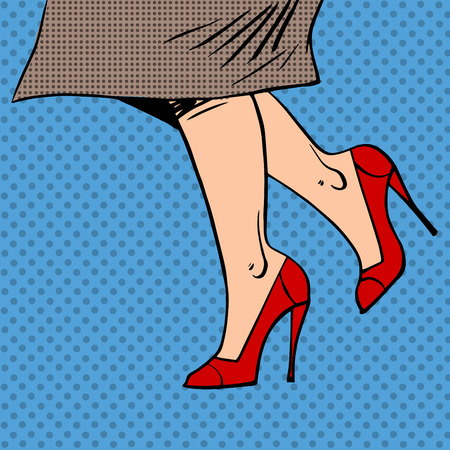 red shoes: Female legs in red shoes woman coat goes pop art comics retro st Illustration