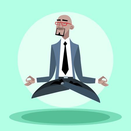 calvo: Empresario se cuelga tranquilas africanos en el aire como un yogui Vectores