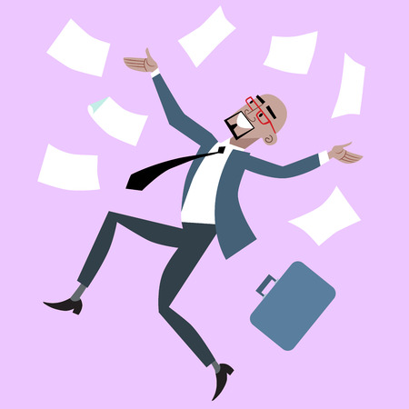 success man: African businessman rejoices luck success. Man throws business papers Illustration