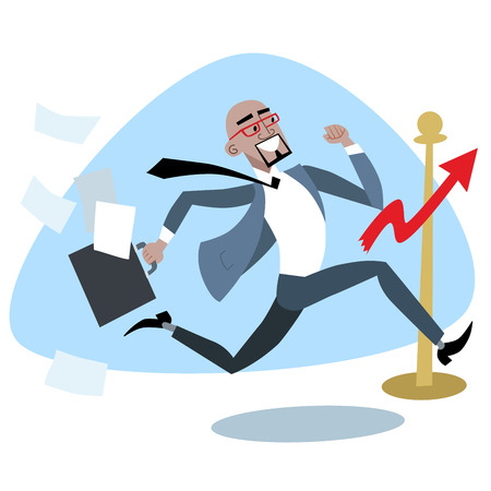 running businessman: African businessman crosses the finish line chart of sales. Business and sport concept