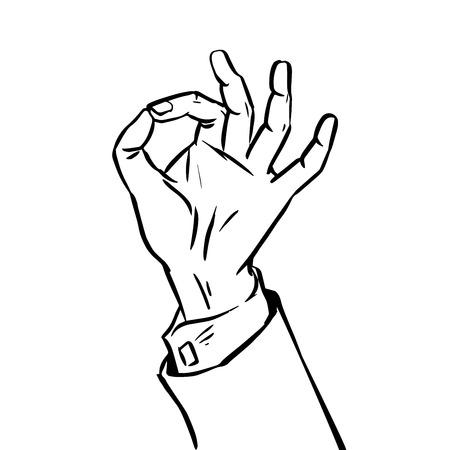 ok sign language: The sketch success hand gesture OK. Graphics sign language