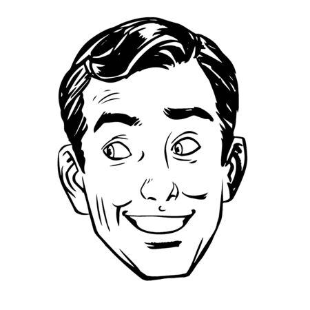 sympathy: The sketch joke smile head man. Graphics success sympathy