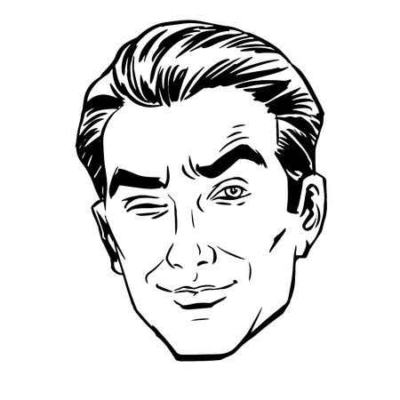 男のスケッチは、片目で見つめて squinted。愛の感情  イラスト・ベクター素材
