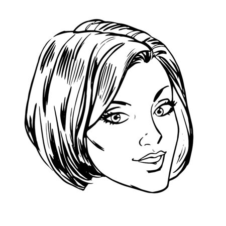 Beautiful young woman face smile retro line art graphics Illustration