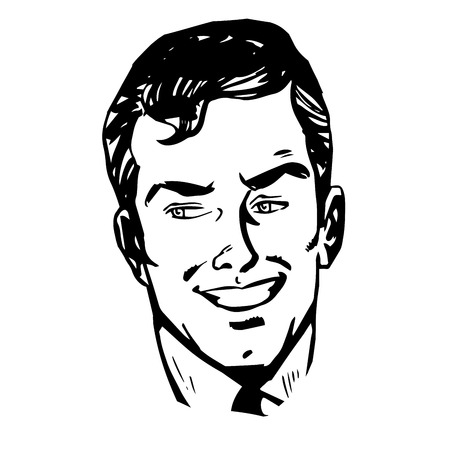 face men: Smiling man face retro line art graphics Illustration