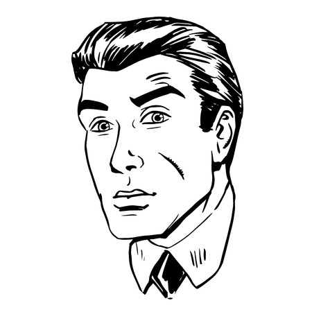 stressed people: Anxious emotional face men fear the uncertainty of the eye retro line art graphics