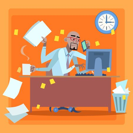office politics: African businessman loaded with work time management. Black man loaded a lot of things in the office Illustration