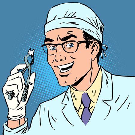 Funny dentist pulled out a tooth. Pop art retro comic book. Male health medicine